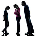 Family father mother daughter dispute reproach silhouette Royalty Free Stock Photo