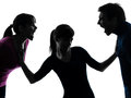 Family father mother daughter dispute screaming silhouette Royalty Free Stock Image