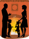 Family by the fireplace silhouettes of a standing silhouettes can used separately Royalty Free Stock Photo