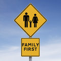 Family first a conceptual road sign indicating Stock Image