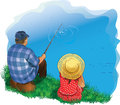Family fishing illustrations on the shore Royalty Free Stock Images
