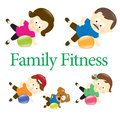 Family fitness with exercise ball illustration of a exercising stability Stock Photos