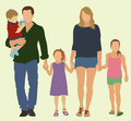 Family of five walking hand in hand Stock Photo