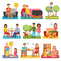 Family Flat Icons Royalty Free Stock Photo