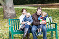 Family of four at beautiful autumn day Royalty Free Stock Image