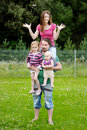 Family of four at beautiful summer day Royalty Free Stock Photography