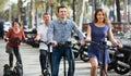 Family of four with electrkc bikes