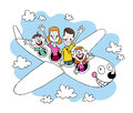 Family of four going on a trip traveling by airplane Royalty Free Stock Photo