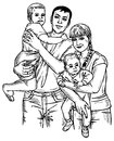 Family four image of happy of drawing on paper parents and children Stock Photo