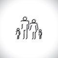 Family four people abstract icons using line drawing symbols father mother son daughter black colored lines shadow Royalty Free Stock Photography