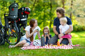 Family of four picnicking in the park happy Stock Photo