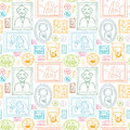 Family framed pictures seamless pattern background vector with hand drawn elements Stock Photo
