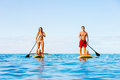 Family fun stand up paddling having together in the ocean on beautiful sunny morning Stock Images