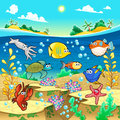 Family of funny fish in the sea vector and cartoon illustration Stock Photo