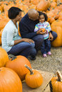 Family getting pumpkin. Royalty Free Stock Photography