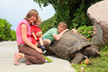 Family with giant turtle Stock Photography