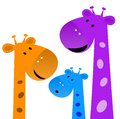 Family of giraffes on a white background illustration raster Stock Photo