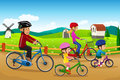 Family going biking together a vector illustration of happy in a countryside rural area Royalty Free Stock Photo