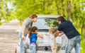 family going on a trip by car Royalty Free Stock Photo
