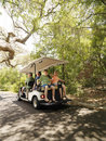 Family in golf cart. Royalty Free Stock Photo
