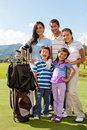 Family at a golf field Royalty Free Stock Photo