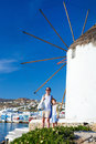 Family in greece happy mother and her adorable little daughter on vacation at mykonos island Royalty Free Stock Photography