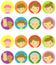 Family happy faces and sad faces icons Royalty Free Stock Photography