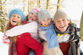 Family Having Fun Snowy Woodland Royalty Free Stock Images