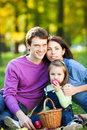 Family having picnic in autumn Royalty Free Stock Images