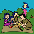 Family having a picnic in a park children s drawing of Royalty Free Stock Photography