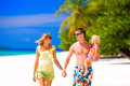 Family having tropical vacation of three on maldives Royalty Free Stock Photography