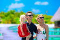 Family having tropical vacation of three on maldives Royalty Free Stock Image