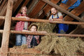 Family on a haystack Royalty Free Stock Photography