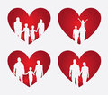 Family heart over cream background vector illustration Royalty Free Stock Image