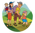 Family on hike illustration of hiking in the mountains Royalty Free Stock Photo