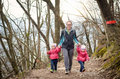 Family is hiking in the mountains family recreation active Stock Image