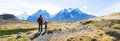 Family hiking in patagonia Royalty Free Stock Photo