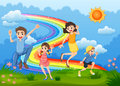 A family at the hilltop playing with the rainbow illustration of Stock Photos