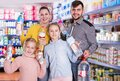family holding bottled mineral water Royalty Free Stock Photo