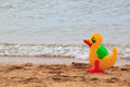Family holiday concept with rubber duck walking on the beach Royalty Free Stock Photo