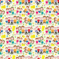 Family Home Seamless Pattern_eps Stock Photography