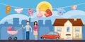 Family horizontal banner city, cartoon style
