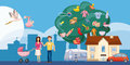 Family horizontal banner tree, cartoon style