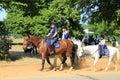 Family on horses Royalty Free Stock Photo