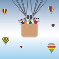 Family hot air balloon ride vector illustration of a happy riding a Royalty Free Stock Photo