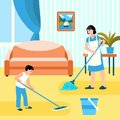 Family house cleaning concept banner, flat style