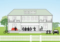 Family house cross section illustration of of with silhouetted people Royalty Free Stock Images