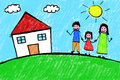 Family house freehand child drawing top view of s with crayons featuring happy hand in hand outdoor next to in a sunny day Stock Photography