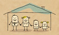 Family in a house hand drawn cartoon characters on textured background Royalty Free Stock Photography