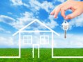 Family house and key with real estate background Stock Photography